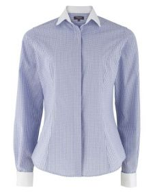 Женская рубашка белая в синюю клетку T.M.Lewin приталенная Fitted (44606)