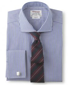 Мужская рубашка под запонки синяя в белую полоску T.M.Lewin приталенная Slim Fit (34818 LS)