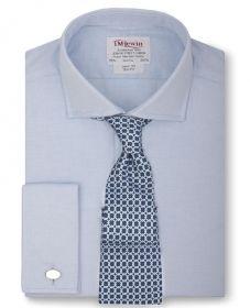 Рубашка мужская под запонки серая T.M.Lewin приталенная Slim Fit (26123)