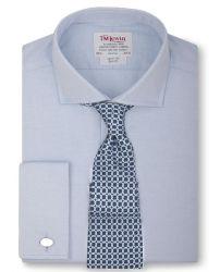 Рубашка мужская под запонки большого размера с длинным рукавом синяя T.M.Lewin приталенная Slim Fit (26123 LS)