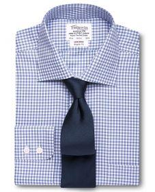 Мужская рубашка в синюю клетку T.M.Lewin не мнущаяся Non Iron классическая Regular Fit (52536)
