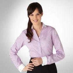 Женская рубашка под запонки в мелкую клетку с белым воротником и манжетами T.M.Lewin приталенная Fitted (41927)
