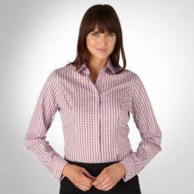 Женская рубашка под запонки голубая в красную клетку T.M.Lewin приталенная Fitted (44095)