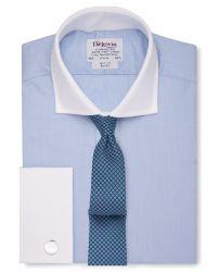 Мужская рубашка синяя с белым воротником и манжетами под запонки T.M.Lewin приталенная Slim Fit (41351)