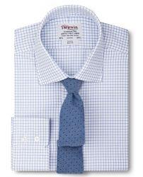 Мужская рубашка белая в синюю клетку T.M.Lewin приталенная Slim Fit (52309)