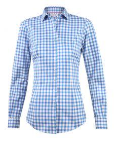 Женская рубашка в клетку цвета морской волны хлопок T.M.Lewin приталенная Fitted (53308)