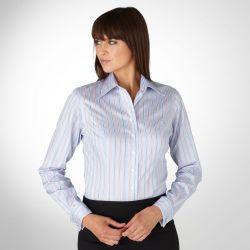 Женская рубашка под запонки в красно-серую полоску T.M.Lewin приталенная Fitted (44081)