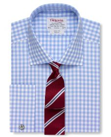 Мужская рубашка под запонки в синюю клетку T.M.Lewin приталенная Slim Fit (54441)