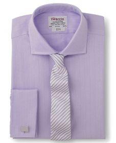 Мужская рубашка под запонки сиреневая T.M.Lewin приталенная Slim Fit (34819)