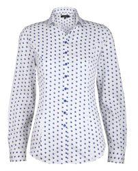 Женская рубашка белая в синий горох T.M.Lewin хлопок приталенная Fitted (52879)