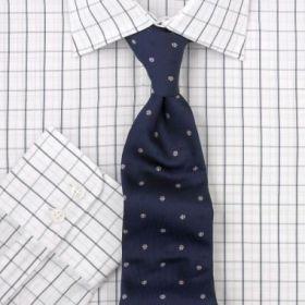 Рубашка мужская белая в черную клетку T.M.Lewin приталенная Slim Fit (45335)