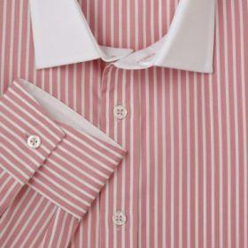 Мужская рубашка в розовую полоску с белым воротником T.M.Lewin сильно приталенная Fully Fitted (45383)